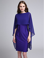 Knee-length Chiffon / Jersey Bridesmaid Dress Sheath / Column Bateau with