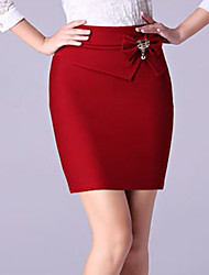 Women's Solid Blue / Red / Black Bodycon Skirts,Simple Mini