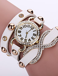 Women's Layered Leather Band White Case Analog Quartz Wrap Bracelet Fashion Watch