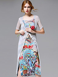 AFOLD® Women's Off Shoulder Short Sleeve Knee-length Dress-5675