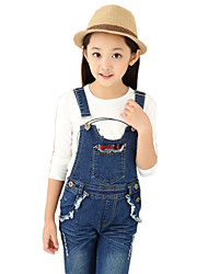 Girl's Cotton Spring/Fall Solid Colors Patchwork Cowboy Suspender Trousers