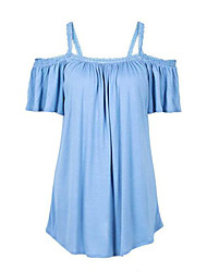 Women's Casual/Daily Street chic Summer Blouse,Solid Strap Short Sleeve Blue / White Cotton Medium