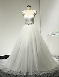 A-line Wedding Dress Court Train Sweetheart Organza / Tulle with Pearl / Sash / Ribbon / Appliques / Beading / Crystal