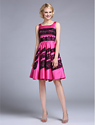 TS Couture Prom Dress - Color Block A-line Square Knee-length Satin with Lace