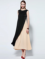 Mary Yan & Yu  Women's Going out Simple Swing Dress,Solid Round Neck Midi Sleeveless Black Polyester Summer