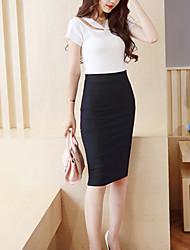 Women's Solid Black Back Split Skirts,Vintage / Simple Midi