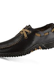 Men's Flats Spring Fall Comfort Cowhide Casual Flat Heel Lace-up Black Brown Yellow Khaki Walking