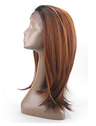 Glueless Synthetic Lace Front Wig Medium Straight 2 Colored Lace FrontWigs Synthetic Hair For Women Heat Resistant Wig