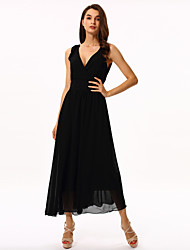 Women's Party/Cocktail Simple Plus Size / Little Black / Chiffon / Swing Dress,Solid V Neck Maxi Sleeveless Black Polyester Summer