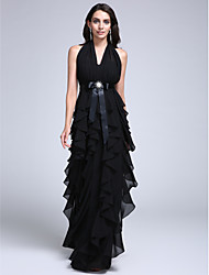 Formal Evening Dress Sheath / Column Halter Floor-length Chiffon with Sash / Ribbon / Ruffles / Draping / Crystal Brooch
