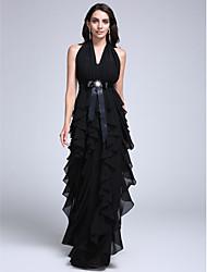 2017 robe de soirée gaine / colonne halter-parole longueur mousseline avec ceinture / ruban / volants / Broche cristal