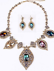 Full Crystal Necklace Earring Jewelry Set