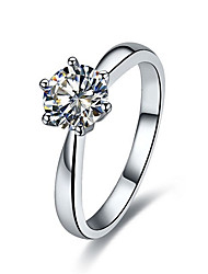Korean Fashion 1CT Solitaire Engagement Ring Prongs Setting SONA Diamond Ring for Women Sterling Silver Platinum Plated