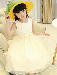 A-line Tea-length Flower Girl Dress - Cotton / Satin / Tulle Sleeveless Jewel with Flower(s)