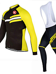 KEIYUEM® Cycling Jersey with Bib Tights Unisex Long Sleeve BikeBreathable / Quick Dry / Dust Proof / Wearable / Back Pocket / Stretch /