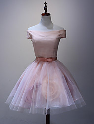 Cocktail Party / Formal Evening Dress A-line Bateau Short / Mini Organza with Flower(s)