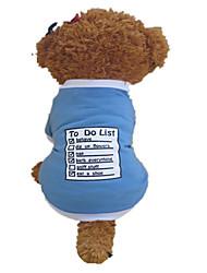 Cães Camiseta Azul Verão Carta e Número