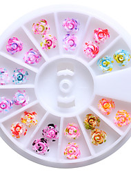 1PC New Dyeing Resin Rose Manicure Ornaments 24  12 Color  Mixed 6CM Drill Box