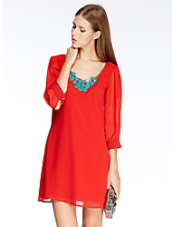 HEARTSOUL Women's Going out Simple Chiffon Dress,Solid Round Neck Above Knee ¾ Sleeve Red Polyester Summer