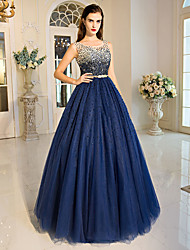 Ball Gown Princess Jewel Neck Floor Length Tulle Formal Evening Dress with Beading Crystal Detailing Sequins by QZ