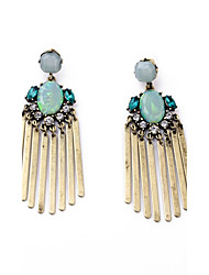 European Luxury Gem Geometric Earrrings Long Tassel Drop Earrings for Women Fashion Jewelry Best Gift