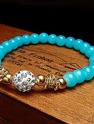 Women Fashionable Round Glass Strand Bracelet