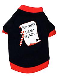 Gatos / Perros Camiseta Negro Ropa para Perro Verano / Primavera/Otoño Letra y Número Navidad