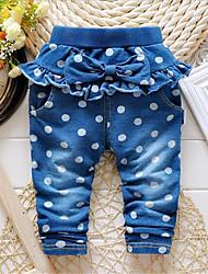 Girl's Blue Pants,Polka Dot Cotton Spring