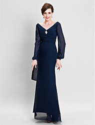 LAN TING BRIDE Sheath / Column Plus Size Petite Mother of the Bride Dress - Open Back Floor-length Long Sleeve Chiffon withDraping