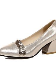Damen-High Heels-Büro / Lässig-PU-Blockabsatz-Absätze / Rundeschuh-Schwarz / Silber / Gold