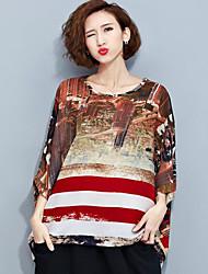 Damen Druck Street Schick Lässig/Alltäglich T-shirt,Rundhalsausschnitt Sommer ½ Länge Ärmel Gelb Polyester Mittel