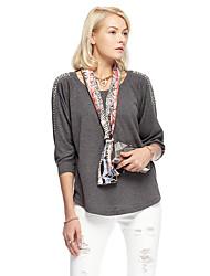 heartsoul Frauen Ausgehen einfache Frühjahr / Herbst Bluse, fest um den Hals ¾ Ärmel grau Polyester / Spandex dünn