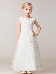 A-line Ankle-length Flower Girl Dress - Rayon Sleeveless Jewel with Appliques