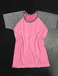 Damen Patchwork Aktiv Sport T-shirt,Rundhalsausschnitt Sommer Kurzarm Rosa / Grau / Grün / Orange / Lila Polyester Dünn