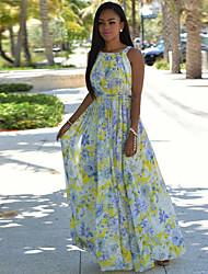 Women's Beach Boho Chiffion Slim Backless Sheath Dress,Floral Strap Maxi Sleeveless