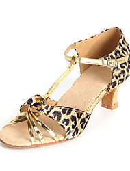 Customizable Women's Dance Shoes Latin Satin  Customized Heel Leopard