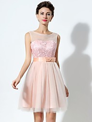 Cocktail Party Dress A-line Jewel Short / Mini Chiffon / Lace with Bow(s) / Lace / Sash / Ribbon