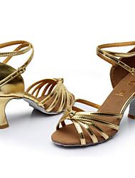Chaussures de danse(Noir Marron Rouge Argent Or Léopard Autre) -Personnalisables-Talon Personnalisé-Satin Similicuir-Latine Salon