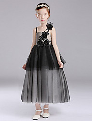 A-line Tea-length Flower Girl Dress - Cotton / Satin / Tulle Sleeveless Spaghetti Straps with