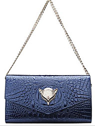 Women PU Formal Shoulder Bag Blue