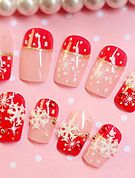 24PCS Fashion Snowflake Decorate Nail Tips
