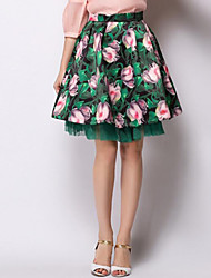 Women's Floral Blue / Green Skirts,Sophisticated Knee-length