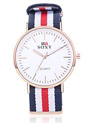 SOXY Hombre Reloj de Moda Cuarzo Reloj Casual Acero Inoxidable Banda Negro Blanco Caqui Blanco Beige Rojo