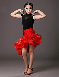 Latin Dance Outfits Children's Performance Spandex Crystals Flower(s) 2 Pieces Red Latin Dance Sleeveless Natural