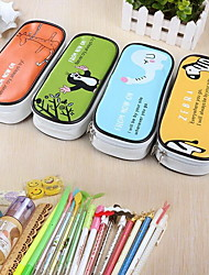 Pu Leather Large Capacity Pen Bag Simple Cartoon Pencil Case