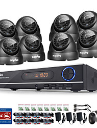 SANNCE® 720P AHD 8CH CCTV DVR Black Dome Camera Home Surveillance Security Camera System