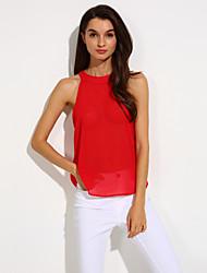 Women's Casual Inelastic Sleeveless Regular Vest (Chiffon)