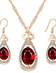 Fashion Temperament Luxury Water Droplets Shape Ruby Luxury Jewelry Sets