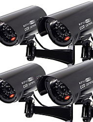 KingNEO 4pcs Outdoor Dummy Camera Simualted Security Surveillance camera black
