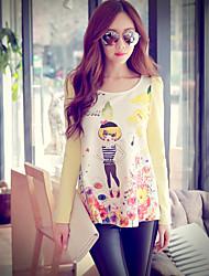 Rosa Doll® Damen Rundhalsausschnitt Lange Ärmel T-Shirt Weiß-X14CTS247